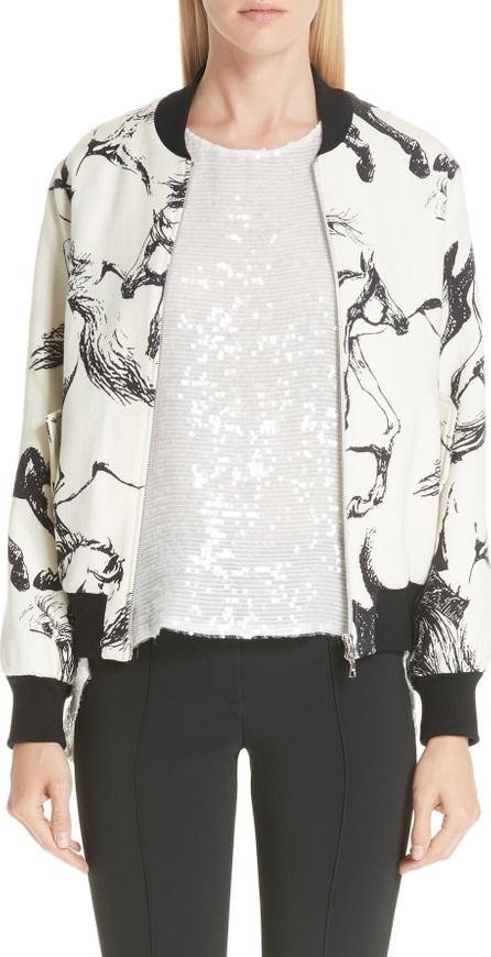 Adam Lippes Horse Print Wool Bomber Jacket