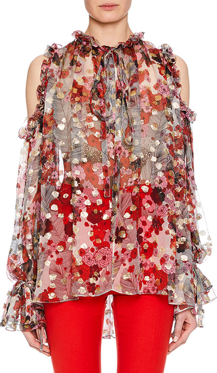 Alexander McQueen Tie-Neck Cold-Shoulder Feather-Flower Fil Coupe Tunic w/ Ruffled Trim