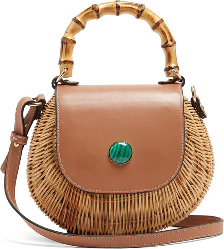 Wai Wai Marina bamboo-handle woven-rattan bag