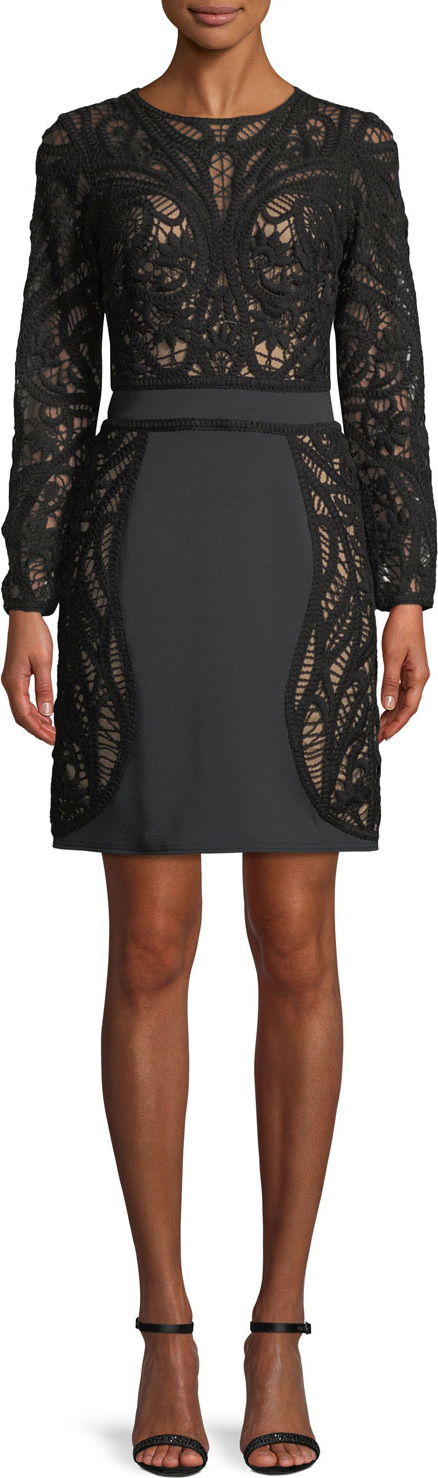 Tadashi Shoji Crochet Lace Long-Sleeve Mini Cocktail Dress