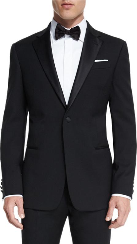 Armani Collezioni G-Line Satin-Lapel Wool Tuxedo