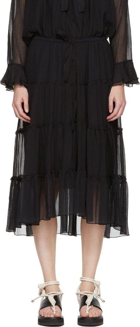 See By Chloé Black Silk Drawstring Skirt
