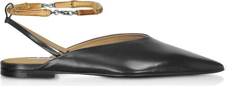 Jil Sander Black Leather Flat Slingback Shoes