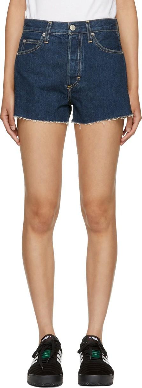 AMO Blue High-Rise Rosebowl Denim Shorts