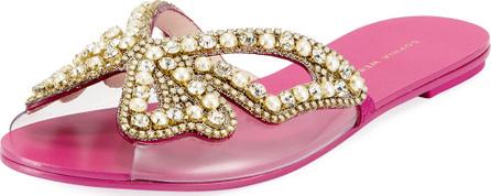 Sophia Webster Madame Embellished Butterfly Flat Slide Sandals