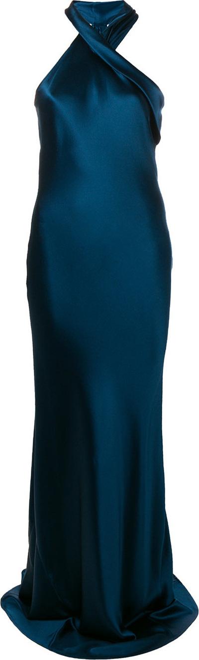 Galvan Asymmetrical bias cut gown