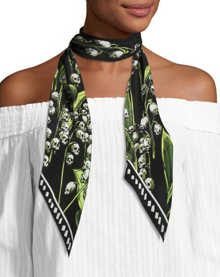 Rockins Skull & Flower Print Super Skinny Silk Scarf, Black