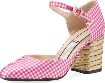 Nº21 Gingham Jute-Heel Sandal Pump