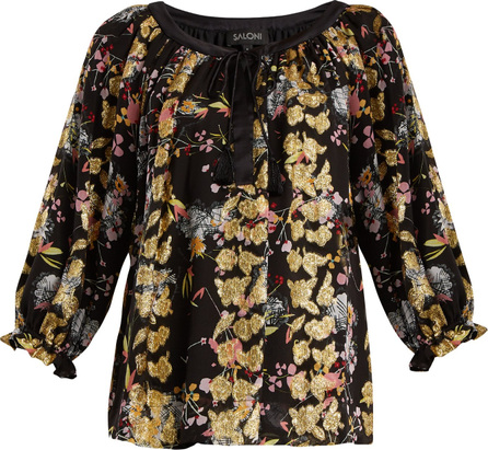Saloni Polly floral-jacquard blouse