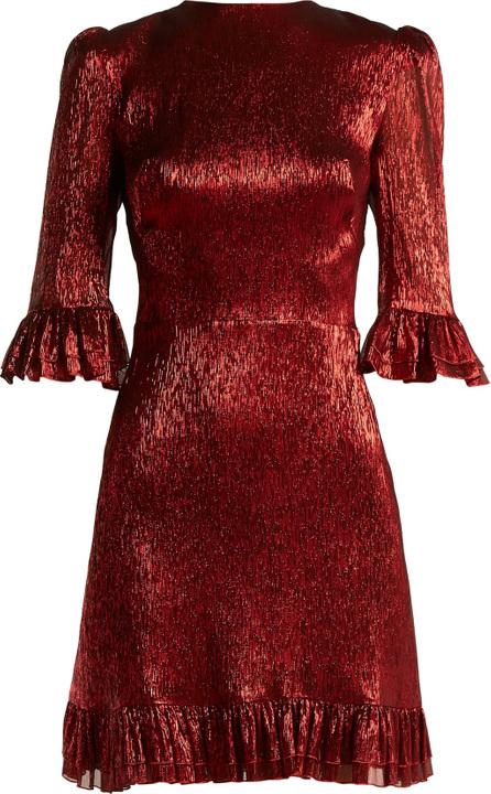 The Vampire's Wife Festival ruffle-trimmed silk-blend lamé mini dress