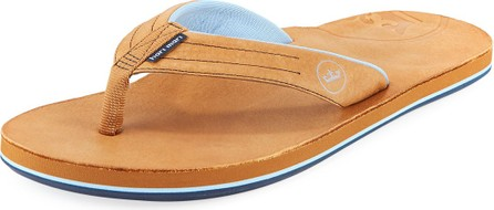 Hari Mari x Peter Millar Men's Leather Thong Sandals, Walnut