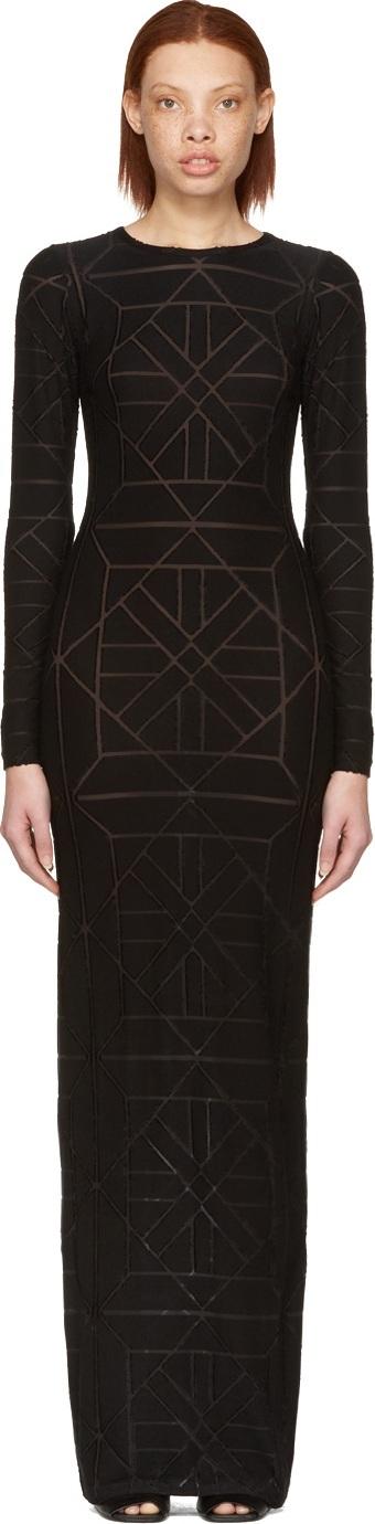 Gareth Pugh Black Long Tile Dress
