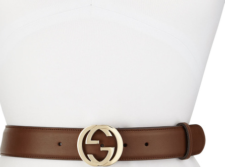 Gucci Wide Adjustable GG-Buckle Belt, Nut Brown