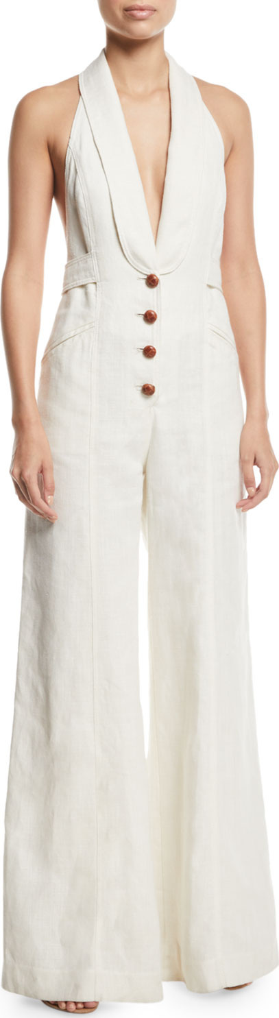 Zimmermann Corsage Tailored Wide-Leg Linen Jumpsuit