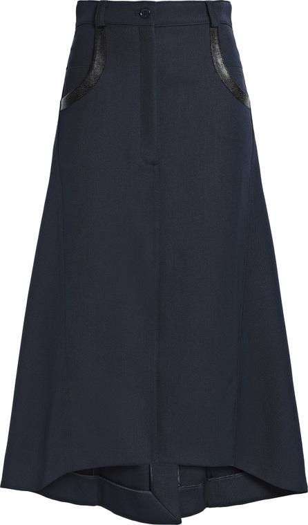Nina Ricci Leather-trimmed wool midi skirt