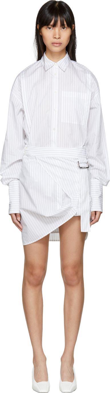 Helmut Lang White Striped Pull Up Shirt Dress