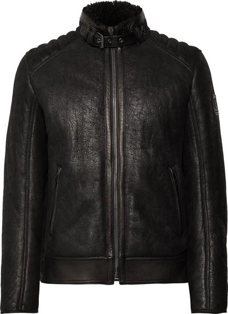 Belstaff Westlake 2.0 Slim-Fit Leather-Trimmed Shearling Biker Jacket