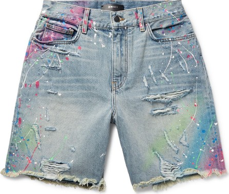 Amiri Thrasher Wide-Leg Distressed Paint-Splattered Denim Shorts