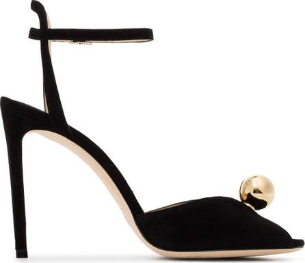 Jimmy Choo Black Sacora 100 faux pearl suede sandals