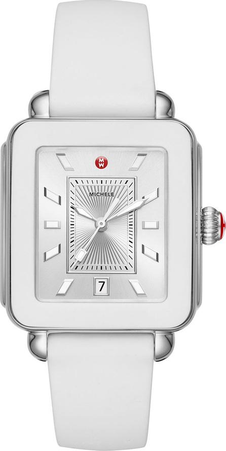 MICHELE Deco Sport Silicone Watch, White