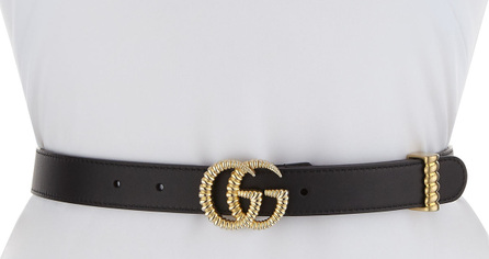 "Gucci Moon Leather Belt w/ Textured GG Buckle, 1""W"