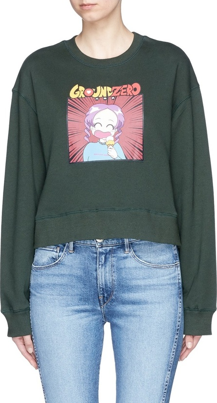 Ground-Zero Anime character print cotton sweatshirt