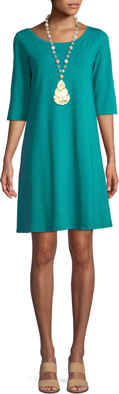 Eileen Fisher 3/4-Sleeve Organic Cotton Stretch A-line Dress