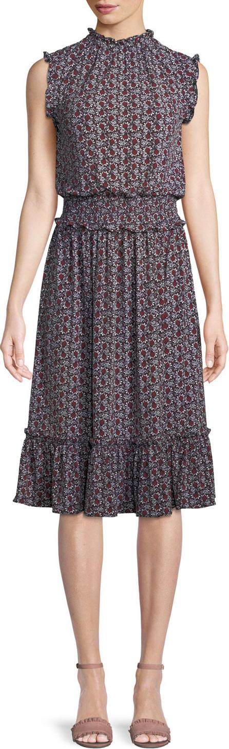 MICHAEL MICHAEL KORS Tulip Smocked-Waist Sleeveless Dress
