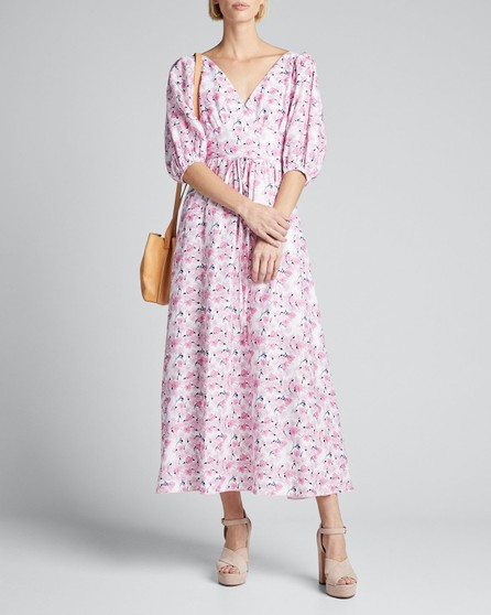 Gül Hürgel Floral-Print Puff-Sleeve Dress with Strappy Open-Back