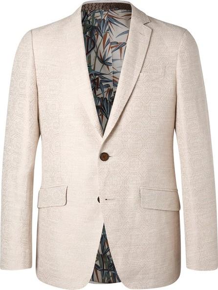 Etro Cream Slim-Fit Cotton and Linen-Blend Jacquard Blazer
