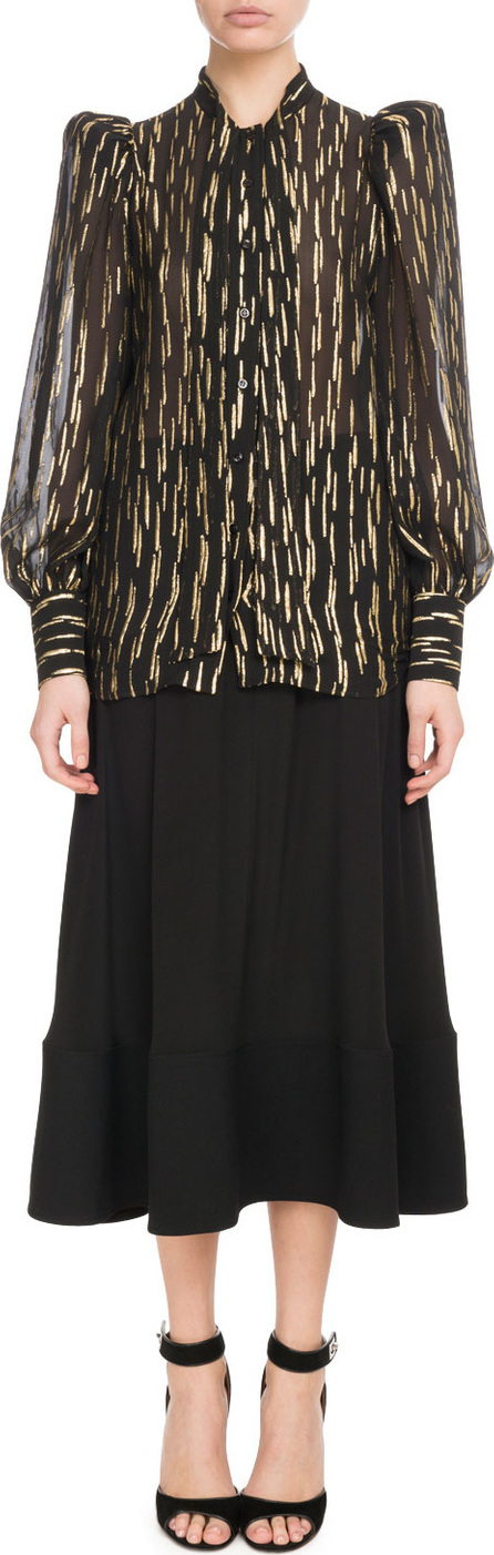 Givenchy Long-Sleeve Button-Front Golden Fil Coupe Silk Blouse