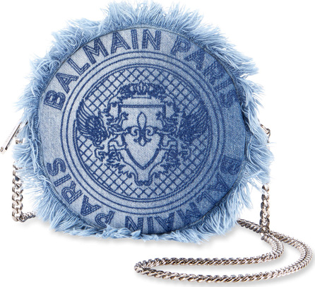 Balmain Disco Denim Round Crossbody Bag