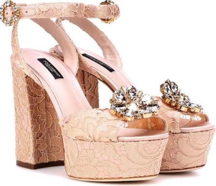 Dolce & Gabbana Embellished lace plateau sandals