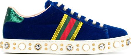 Gucci faux pearl embellished striped sneakers