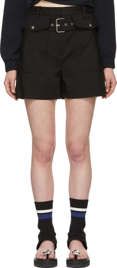 3.1 Phillip Lim Black Belted Flap Pockets Shorts