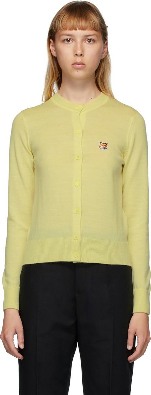 Maison Kitsune Yellow Wool Fox Head Cardigan