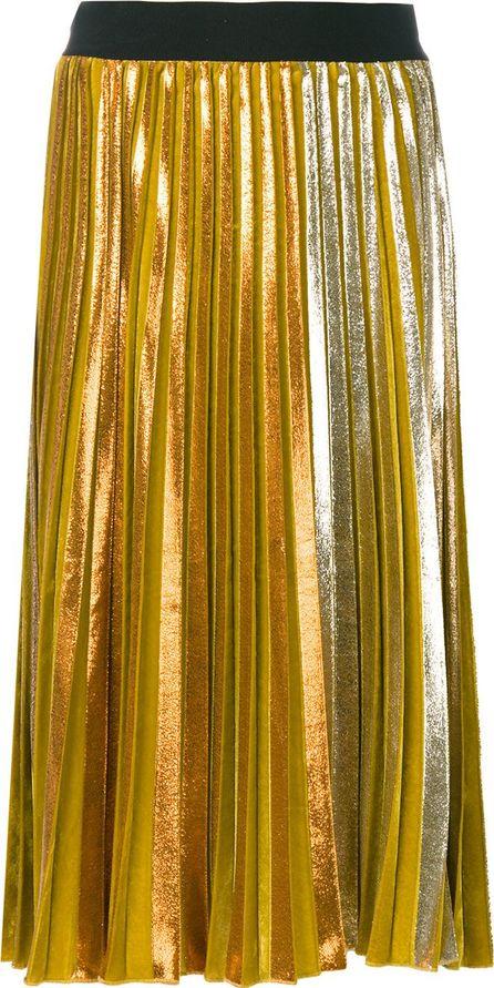 Nude mid-length pleated skirt