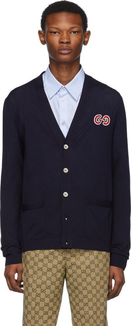Gucci Navy Thin Knit GG Cardigan