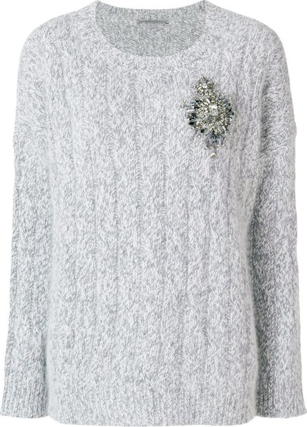 Ermanno Scervino embellished brooch knitted jumper