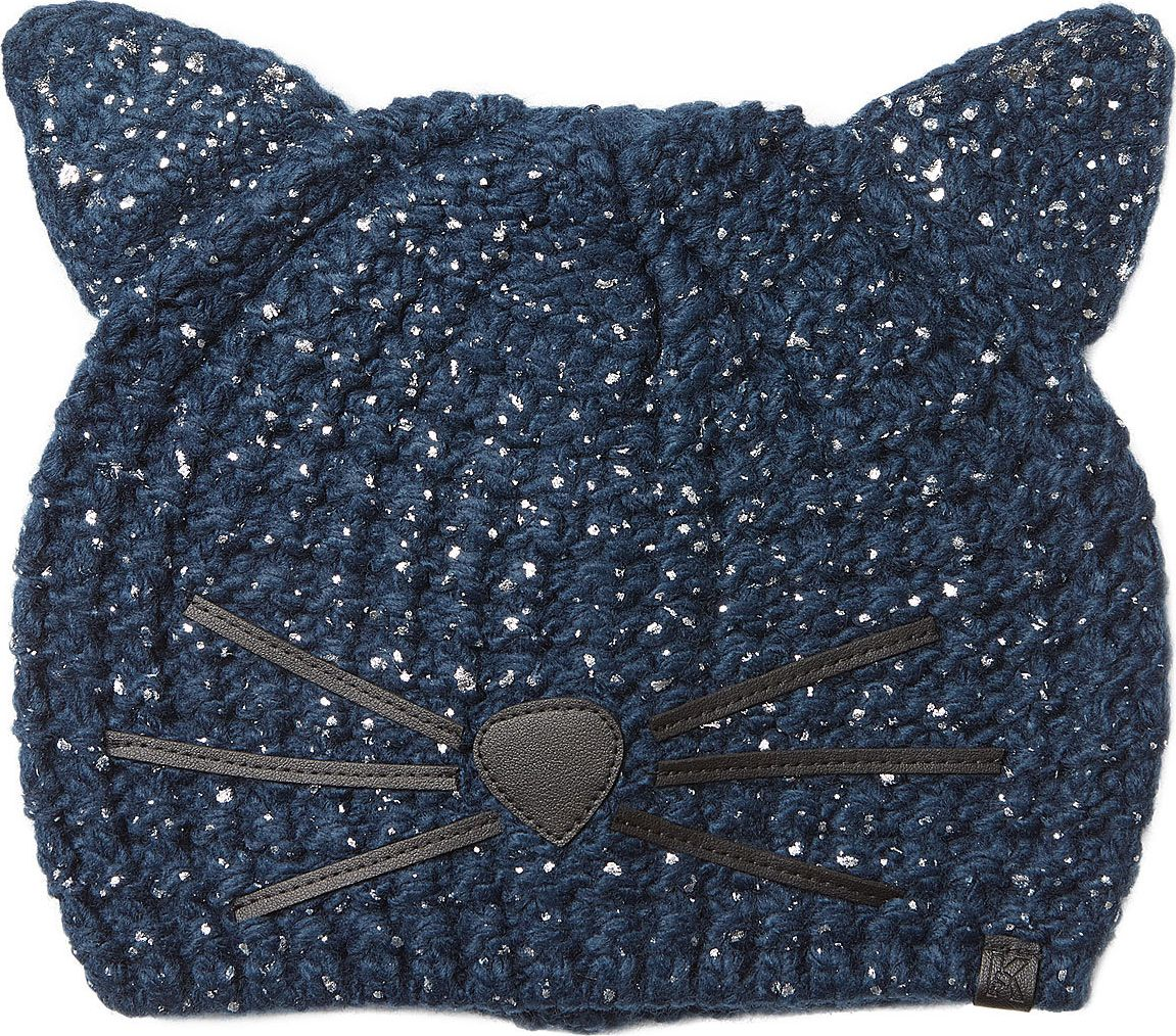8bb02336b59a1 Karl Lagerfeld Knit Hat With Metallic Flecks And Cat Ears Mkt