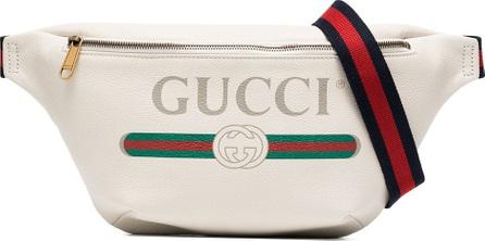 Gucci White fake logo print leather cross-body bag