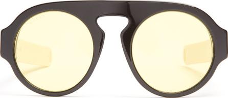 Gucci Round-frame Web-striped acetate sunglasses