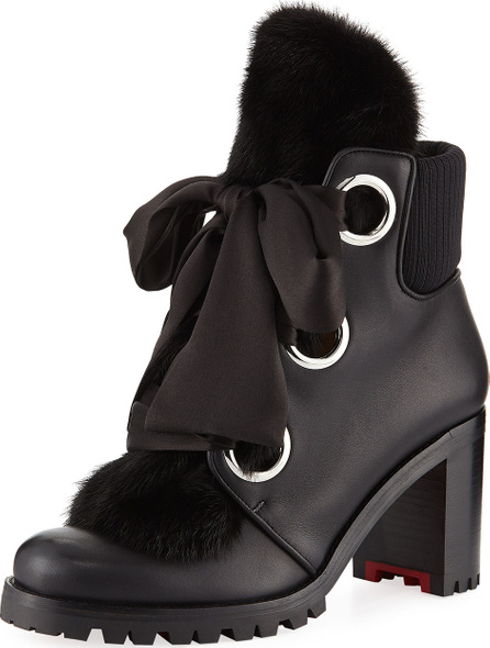 Christian Louboutin Jenny From The Alps Fur Red Sole Booties