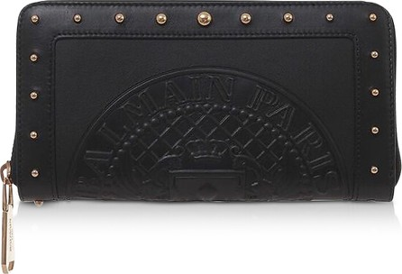 Balmain Black Embossed Leather Continental Zip-Around Wallet