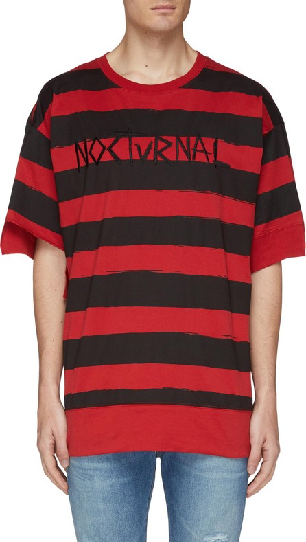 Haculla 'Nocturnal' slogan embroidered stripe T-shirt