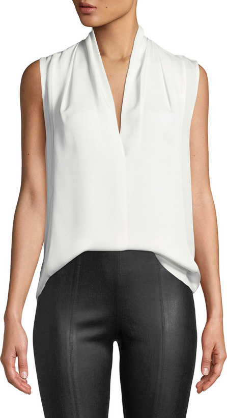 Vince Sleeveless Draped-Neck Silk Blouse