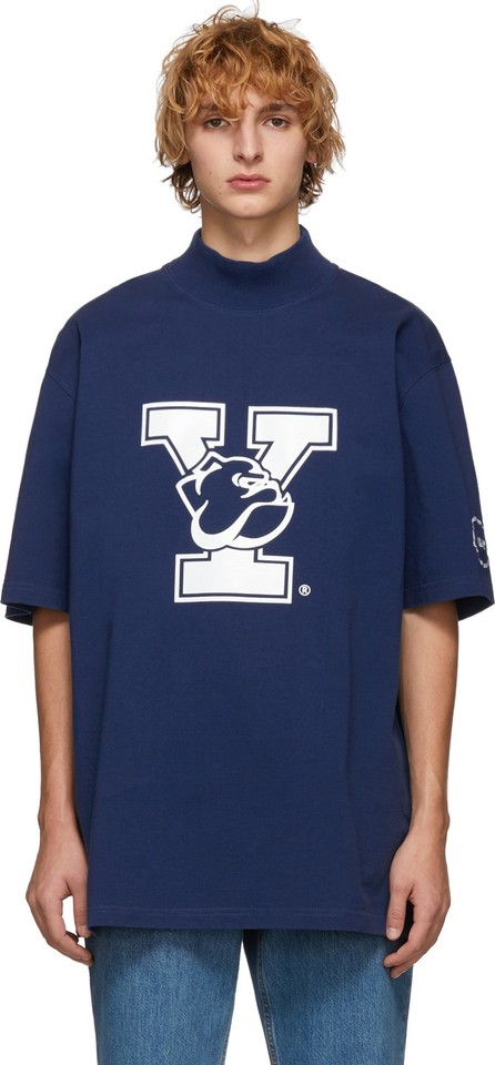 Calvin Klein 205W39NYC Blue Yale Oversized Mock Neck T-Shirt
