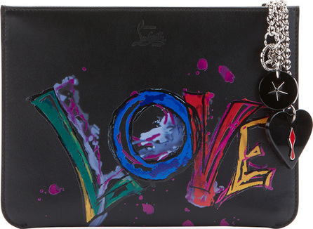 Christian Louboutin Loubicute Calf Paris Love Charms Clutch Bag