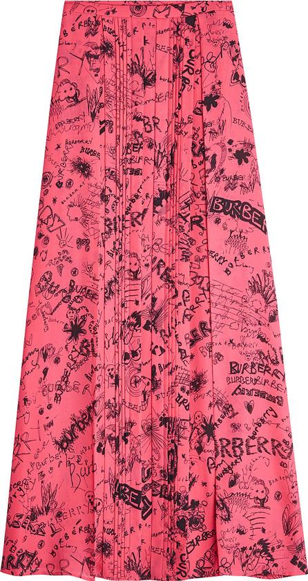 Burberry London England Neckar Doodle Silk Skirt