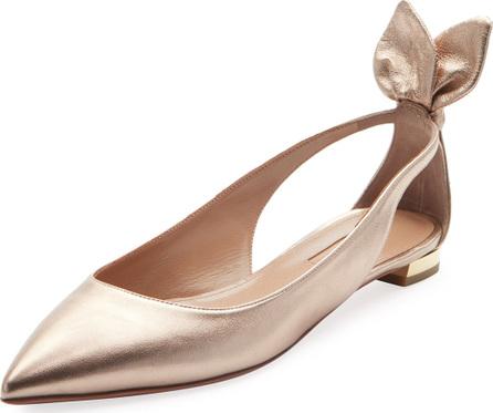 Aquazzura Deneuve Metallic Leather Ballerina Flat